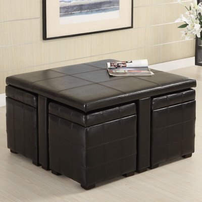Ceres Leatherette 5 Piece Coffee Table and Ottoman Set in Dark Espresso