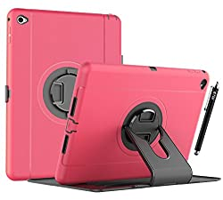 iPad Air 2 Case, iPad air 2 defender case, E LV iPad air 2 Case - Shock-Absorption / High Impact Resistant (ROTATING STAND) Hybrid Dual Layer Armor Defender Full Body Protective Case Cover for Apple iPad air 2- HOT PINK