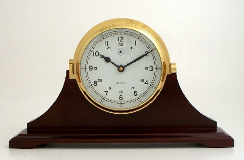 Brass Bell Striking Table Clock on Mahogany Wood Base, T.P.