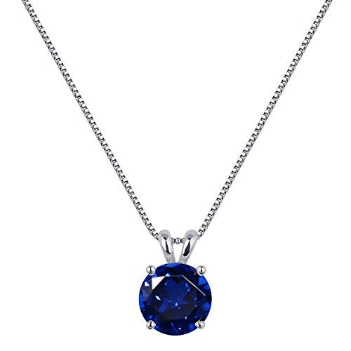 [ジュエリーキャッスル] Jewelry Castle ネックレス 2カラット シンセティック サファイア 一粒ネックレス 9月 誕生石