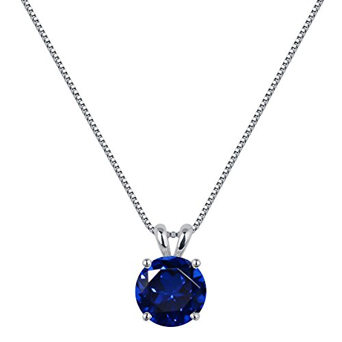 [ ジュエリーキャッスル ] Jewelry Castle ネックレス 2カラット シンセティック サファイア 一粒ネックレス 9月 誕生石