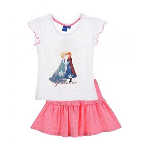 Frozen-Conjunto-de-falda-camiseta-diseo-de-Frozen-color-blanco-4-6-8-5-aos-blanco-8-aos