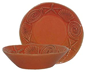 "Stoneware Sea Life Coral Dip Bow, Set of 6 - 5""Dx1.5""H"