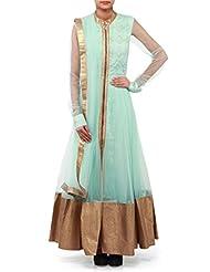 Kalki Fashions Sky Blue Anarkali Suit Adorn In Thread And Kundan Yoke