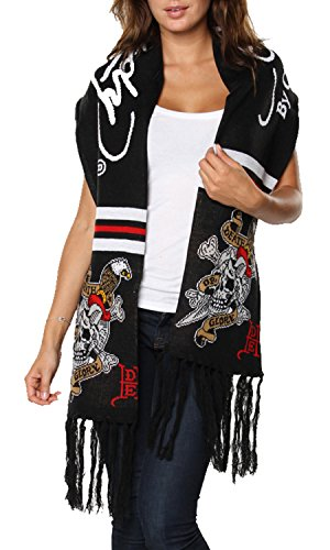 Ed Hardy Skull/Sword Rectangle Knit Scarf - Black