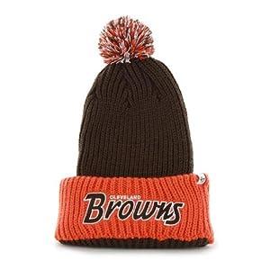 "Cleveland Browns Orange Cuff ""Step Back"" Beanie Hat with Pom - NFL Cuffed Winter Knit Toque Cap"