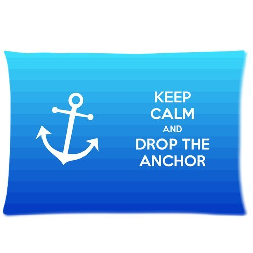 Keep Calm And Drop The Anchor Blue Custom Zippered Bedding Pillowcase Pillow Case Cover 20X30 (Twin Sides)