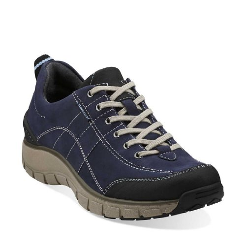 Clarks Women's Clarks Wave.Trek Lace-Up Fashion Sneaker,Navy,8.5 M US