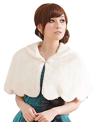 Modekini Women's Faux Fur Collared Evening Cover Up Cape