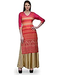 Natty India Pink And Multicolor Cotton And Rayon Women's Kurta And Pallazo Set