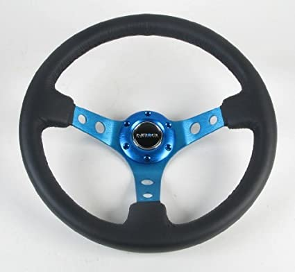 NRG-Steering-Wheel-06-(Deep-Dish)-350mm-(13.78-inches)-Black-Leather-with-Blue-Spokes-Part-#-ST-006R-BL