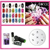 Konad Stamping Nail Art Set inclus Mini Tampon & Vernis Special blanc + 1 plaques d&#39;images M-1par Konad Stamping Nail Art