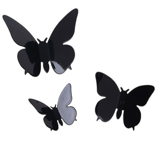 2013Newestseller 24Pcs 3D Butterfly Wall Stickers Decals Home Roon Decors (Black) front-128864