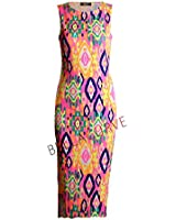 Fast Fashion - Robe De Midi Néon Tribal Colorée Imprimer Sans Manches - Femmes
