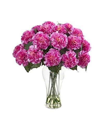 Nearly Natural Carnation Arrangement With Vase, Dark Pink