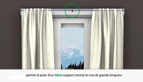 2 supports sans perçage GEKO pour tingle à rideaux diamètre 20 mm - Spécial coffre de volet roulant à rainure - Colori : Noir