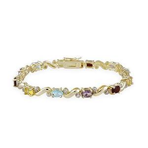 18K Gold ?ber Sterling Silber Multi Edelstein & Diamant Akzent Tennis Armband