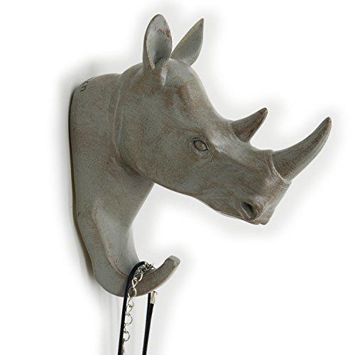 Herngee Rhino Head Single Wall Hook / Hanger Animal shaped Coat Hat Hook Heavy Duty, Rustic,Recycled, Decorative Gift , Grey