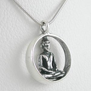 Sterling Silver Round Sitting Buddha Pendant