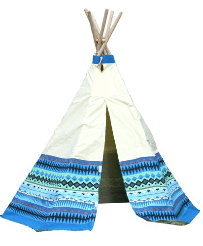 garden-games-limited-childrens-aztec-wigwam-play-tent-with-wooden-frame-and-natural-cotton-canvas-bl