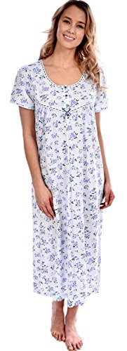 Pink lady women 39 s cotton knit floral long nightgown blue Long cotton sleep shirts