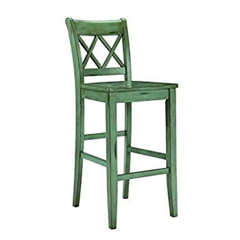 Signature Design by Ashley D540-130 Vintage Casual Pub Height Barstool, Blue/Green, Pub Height (Set of 2)