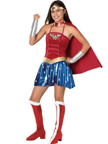 Wonder Woman Teen Juniors Costume SuperHero Theatre Costumes 6 Pc Set