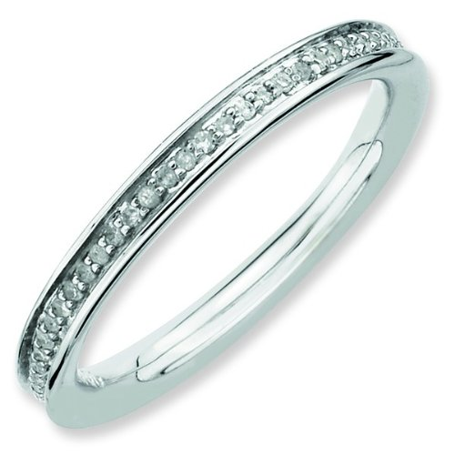 Size 10 - Diamond 2.25mm Channel Eternity Band Sterling Silver Stackable Ring