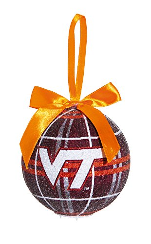 Virginia Tech Light Up Led Sparkle Plaid Christmas Ornament