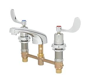 T S Brass B 2991 Wa Lavatory Faucet Wrist Action Metering Cartridges 8 Inch Center Cast Spout
