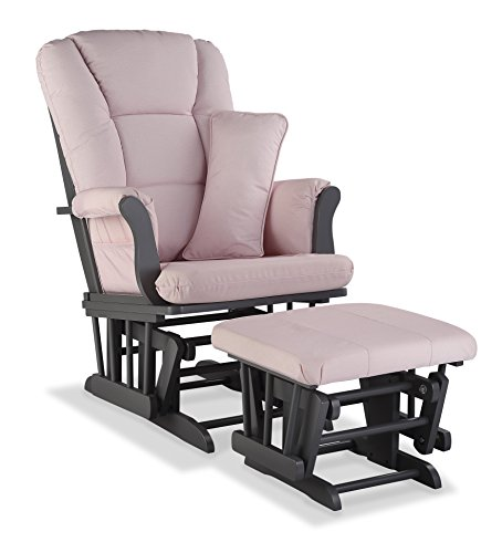 Stork Craft Tuscany Custom Glider And Ottoman With Free Lumbar Pillow, Gray/Pink Blush Swirl front-190045