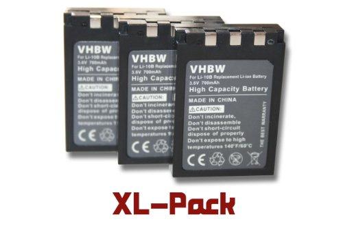 vhbw 3x Li-Ion Akku Set 700mAh (3.6V) für Kamera Olympus µ mju 300, mju 400, mju 410, mju 500 Digital, mju 600, mju 800, mju 810 wie Li-10B, 12B.