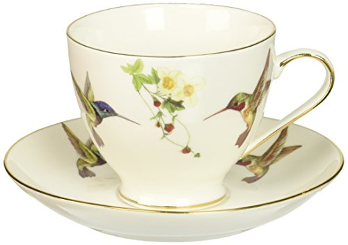Abbott Collection Hummingbird Cup and Saucer, 2.5