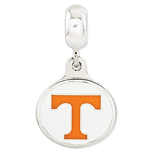 Roy Rose Jewelry Sterling Silver University of Tennessee Collegiate Enameled Dangle Bead