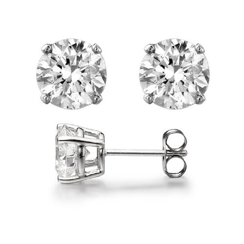 2.00 Carat Total Weight Sterling Silver Diamond Colored Round Cz Stud Earrings- April Birthstone