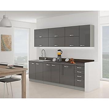 Ewa cuisine complete gris laqué 260 cm