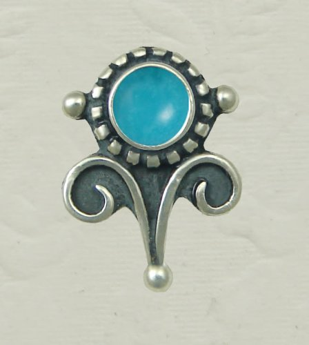 Turquoise Sterling Silver Vicorian Stud Earrings When You Need Just a Little Bit of Color