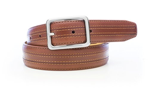 Isaac Mizrahi Men's Saffiano Leather Inlay Belt Cognac 40