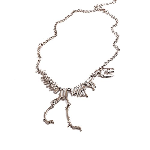 "Jemry and Jewelry Jurassic Park Personality Tyrannosaurus Rex Skeleton Pendant Necklace for Woman ""25"""