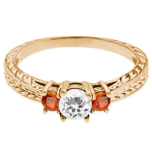 0.59 Ct Round White Topaz Orange Sapphire 18K Yellow Gold 3-Stone Ring
