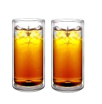 Sun's Tea(tm) 16oz Ultra Clear Strong Double Wall Insulated Thermo Glass Tumbler Highball Glass for Beer/cocktail/lemonade/iced Tea, Set of 2 (Made of Real Borosilicate Glass, Not Plastic) (Double Wall Cup compare prices)
