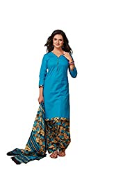 Taos Brand cotton dress materials for women womens dress materials cotton salwar suit New Arrival latest 2016 womens party wear Unstitched dress materials for women (1345 summer__cream and sky blue_freesize