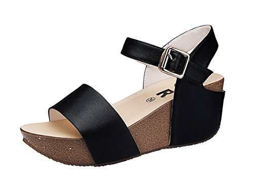 PerfectAZ Women Fashion Summer Open Toe Ankle Strap Platform Casual Breathable Walkintg Sandals(8 B(M) US, Black)