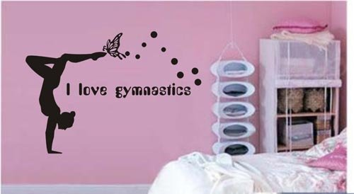 Large–Easy instant decoration wall sticker wall mural Gym-I love Gymnastics
