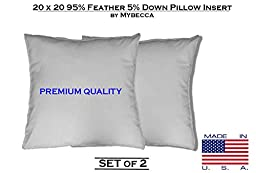 Mybecca - SET OF 2 - 20 x 20 95% Feather 5% Down Premium Square Decorative Pillow Insert in Cotton Cover- Made in USA