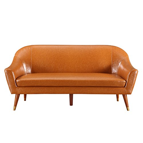 Divano roma furniture mid century modern sofa bonded for Mid century modern leather sofa