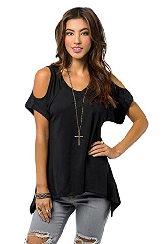 Relipop Women Hollow Out Casual Shirt Short Sleeve Off Shoulder Tunic Tops