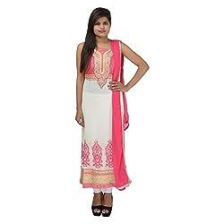 Kashish Creations Women Resham White & Pink Semi Stitched Salwar Suit