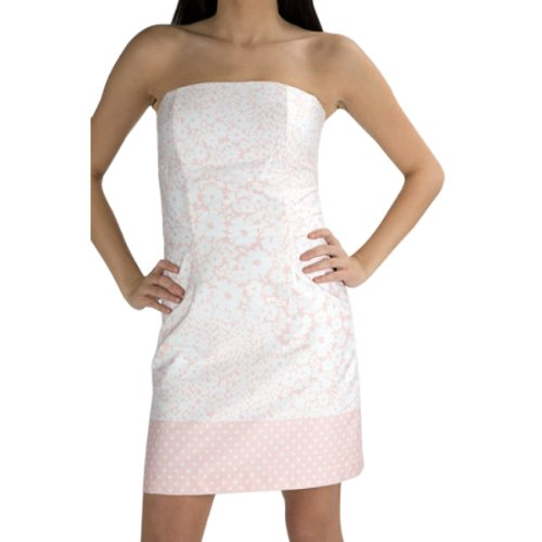This floral strapless dress features a floral pattern on top with a polka dot pattern on the bottom. This black and white dress is made from 100% cotton. Strapless dress with zippered back.