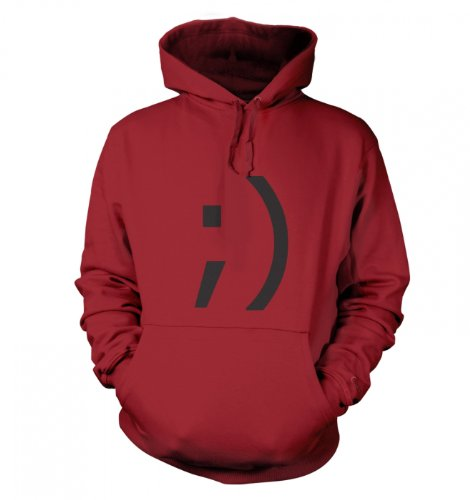 Geek Hoodie – Wink Emoticon hoodie – Red Hot Chilli X Large (52″ Chest)